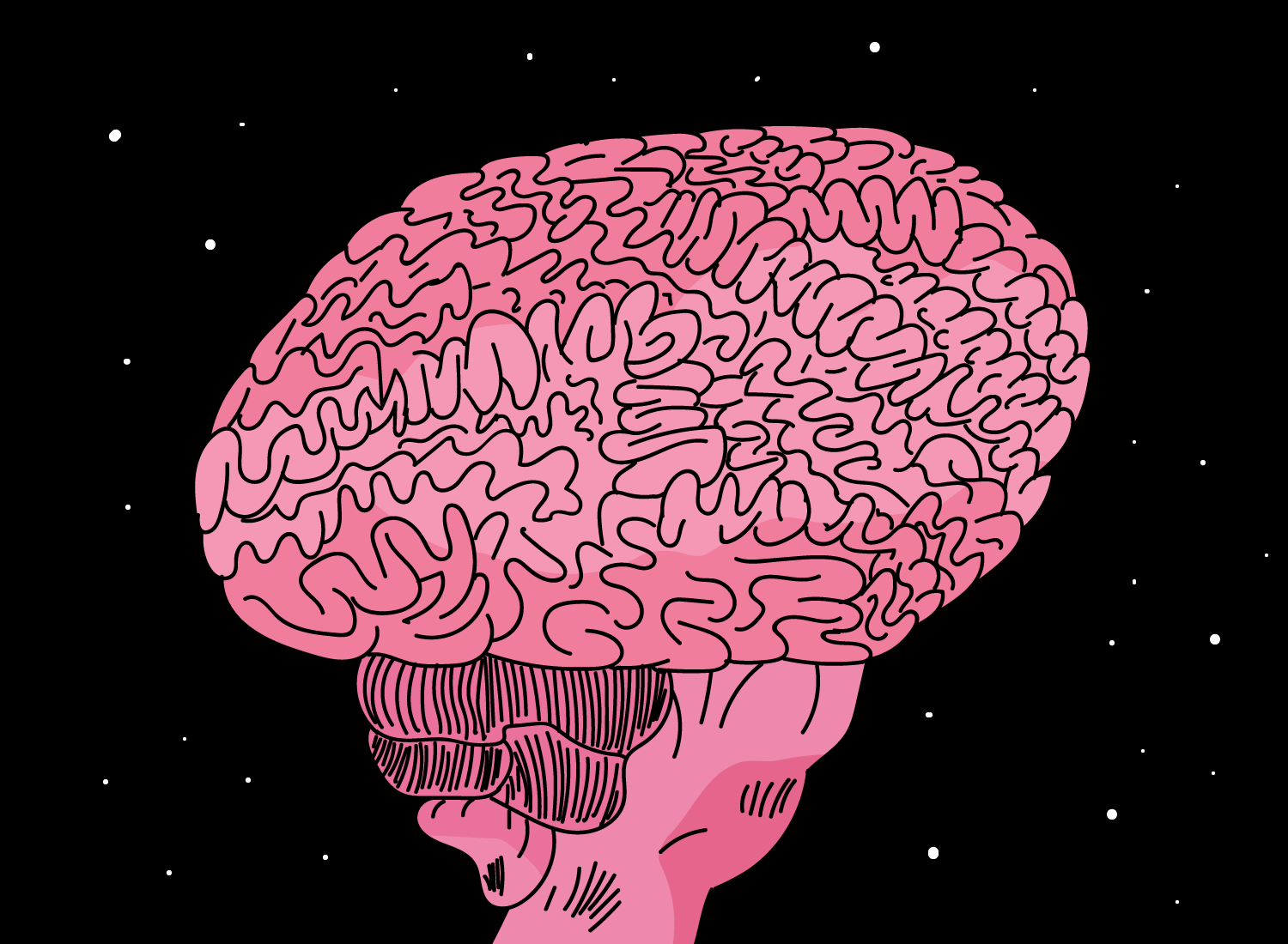 brain drawing cartoon illustration