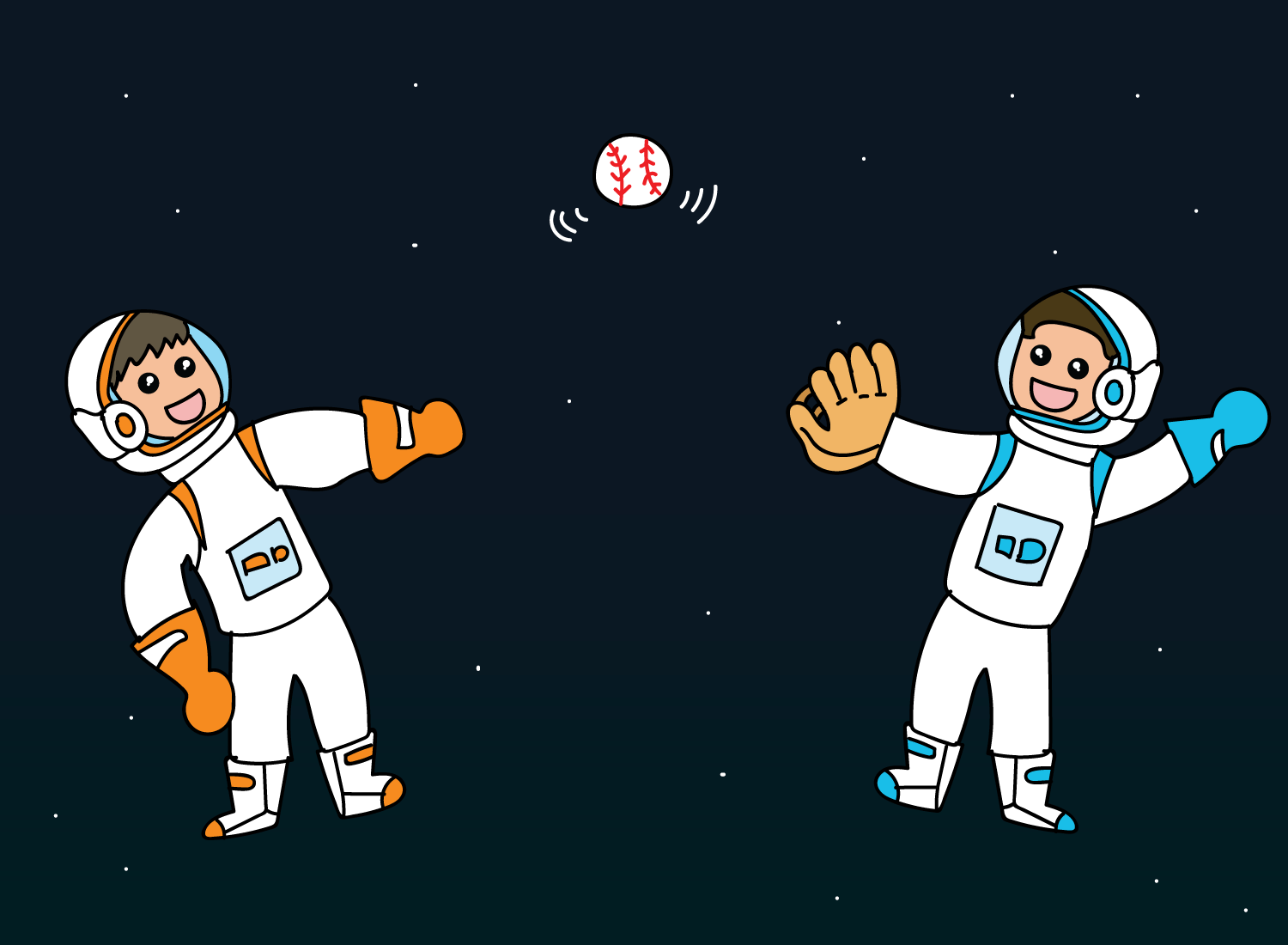 throwing a baseball in space