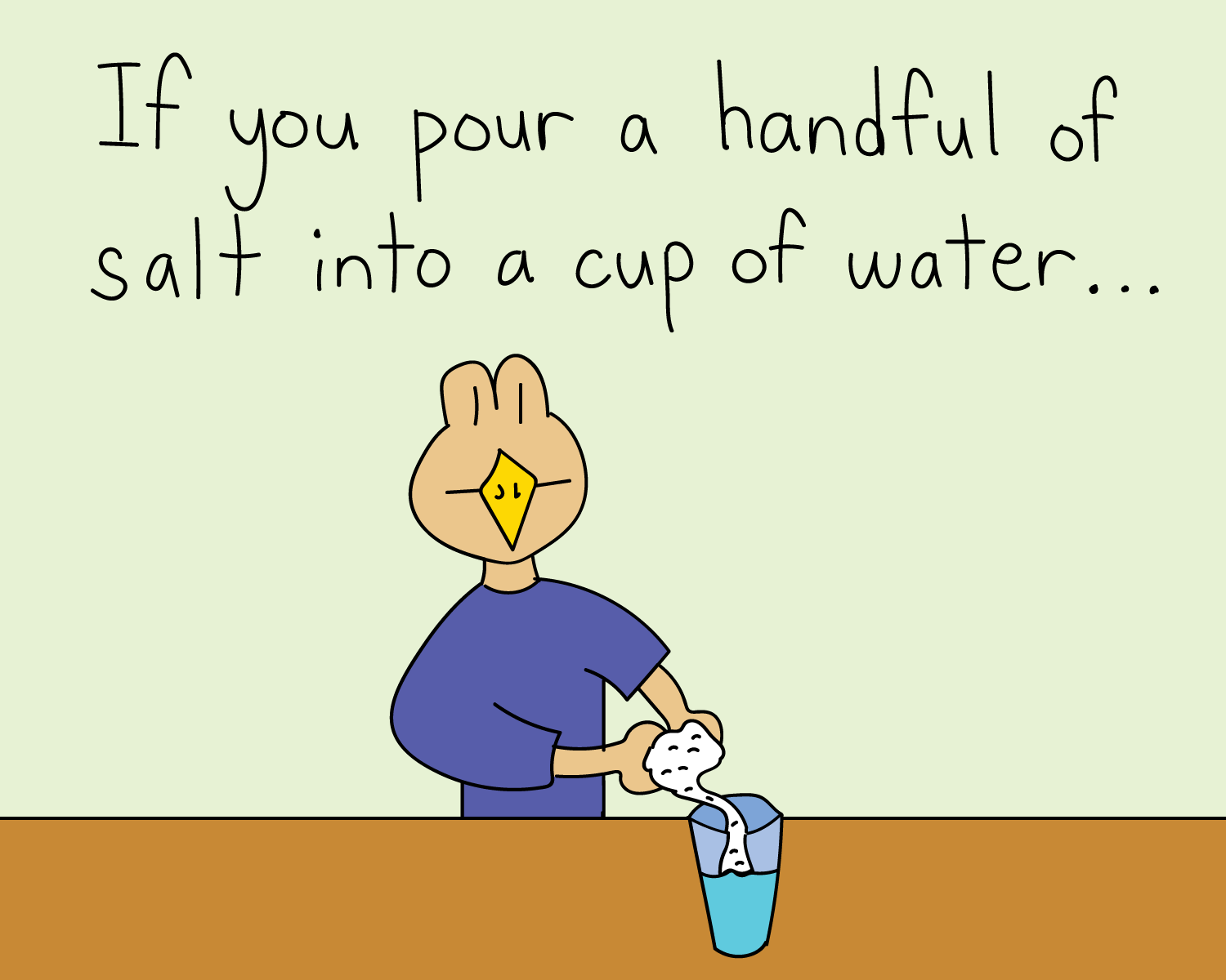 pour salt into a cup of water